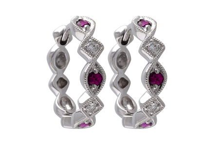 L056-00824: EARRINGS .20 RUBY .25 TGW